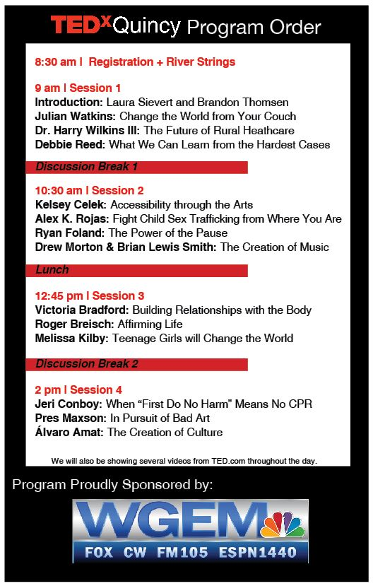 1b41620075e Speaker Schedule – TEDxQuincy